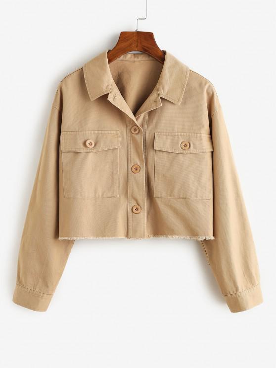 women's ZAFUL Frayed Front Pockets Cropped Jacket - KHAKI S