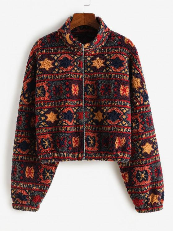 womens ZAFUL Tribal Print Short Teddy Coat - FIREBRICK L