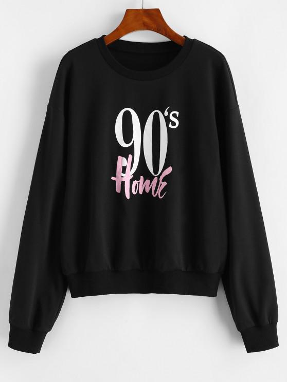 buy ZAFUL Crew Neck Vintage Graphic Sweatshirt - BLACK S