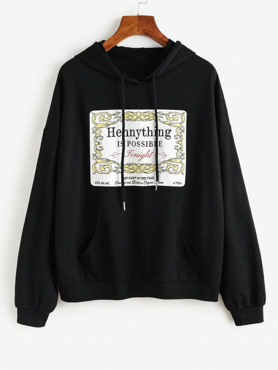 online ZAFUL Graphic Kangaroo Pocket Hoodie - BLACK M