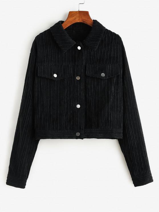 ZAFUL Corduroy Flap Detail Cropped Jacket - أسود L