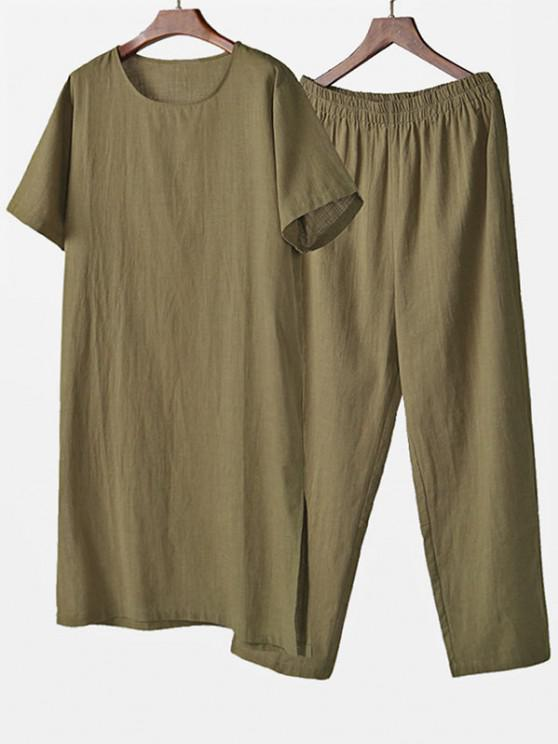 best Solid Two Piece Loungewear Set - LIGHT GREEN 2XL