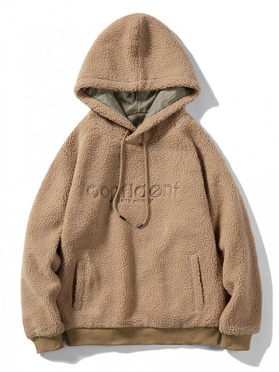 Letter Embroidered Kangaroo Pocket Teddy Hoodie - كاكي M