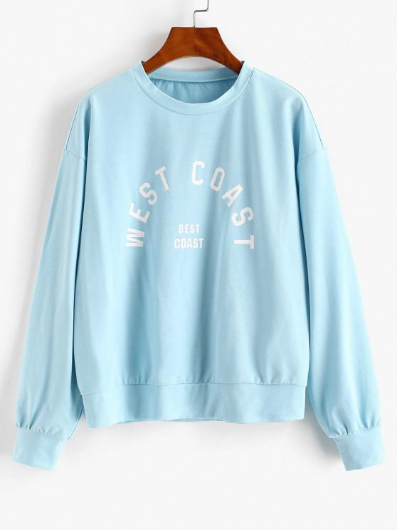 outfits ZAFUL Drop Shoulder WEAT COAST Graphic Sweatshirt - DAY SKY BLUE S