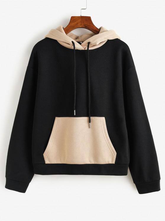 affordable ZAFUL Colorblock Kangaroo Pocket Hoodie - BLACK S