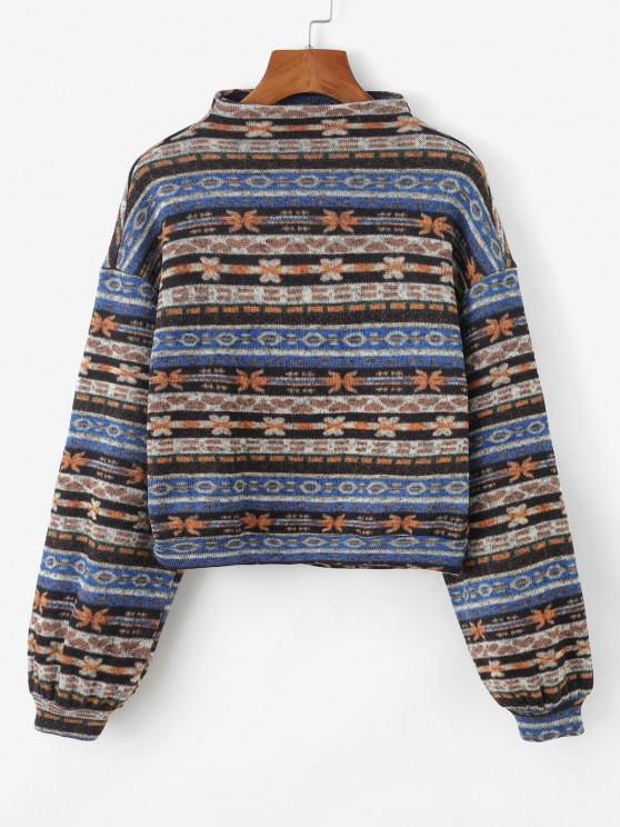 chic ZAFUL Tribal Print Knitted Drop Shoulder Sweatshirt - MULTI-A M