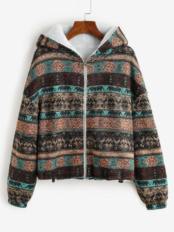 hot ZAFUL  Hooded Tribal Print Faux Fur Lined Coat - DEEP BROWN M
