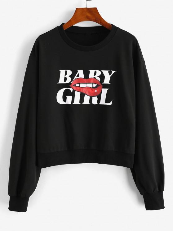 chic ZAFUL Lip BABY GIRL Graphic Sweatshirt - BLACK S