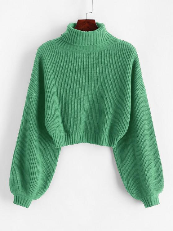 buy ZAFUL Turtleneck Lantern Sleeve Cropped Sweater - DARK SEA GREEN M
