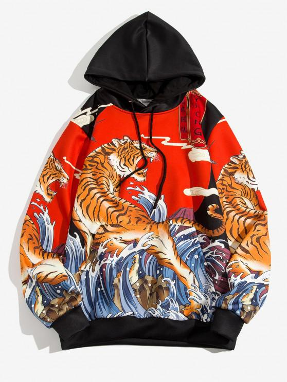 buy Chinoiserie Tiger Waves Graphic Print Hoodie - RUBY RED 3XL