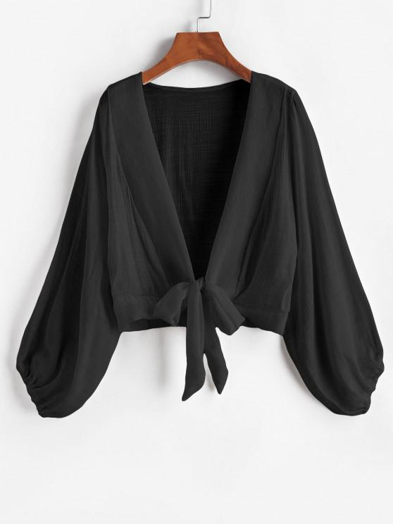 women Tie Knot Bishop Sleeve Cover Up Top - BLACK ONE SIZE