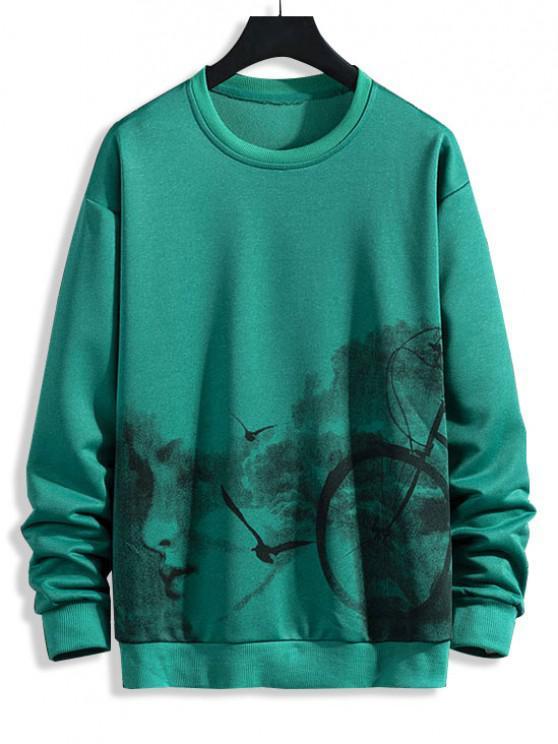 latest Birds Biker Print Rib-knit Trim Sweatshirt - JUNGLE GREEN L