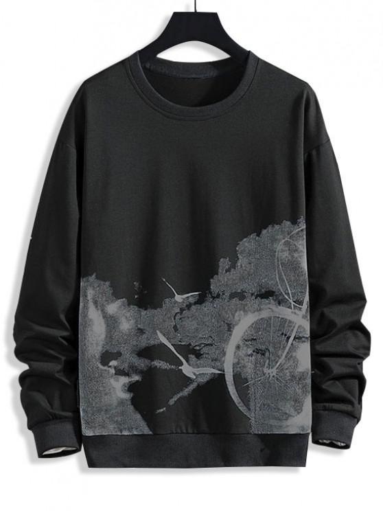Birds Biker Print Rib-knit Trim Sweatshirt - أسود S