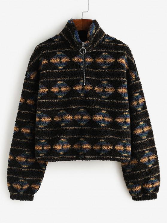 hot ZAFUL Tribal Print Half Zip Teddy Sweatshirt - BLACK S