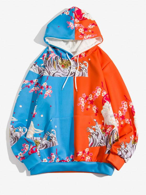 chic Two Tone Flying Crane Flower Hokusai Print Hoodie - BLUEBERRY BLUE L