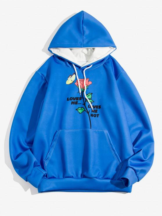outfit Rose Butterfly Loves Me Print Hoodie - COBALT BLUE XL