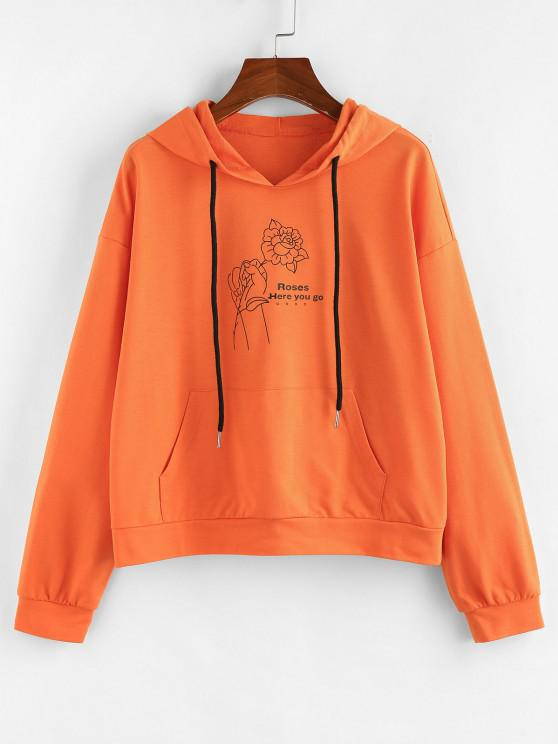 women's ZAFUL Graphic Pocket Drop Shoulder Hoodie - PUMPKIN ORANGE M