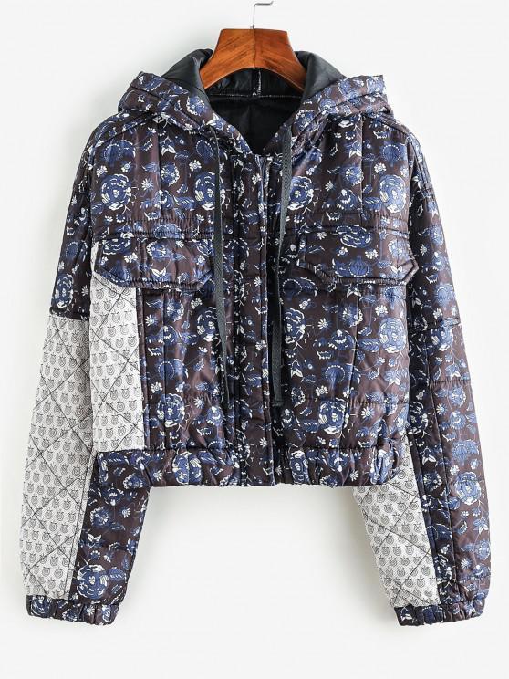 Floral Hooded Zip Padded Coat - أسود M