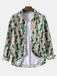 Long Sleeve Geometric Print Curved Hem Shirt - Deep Green S