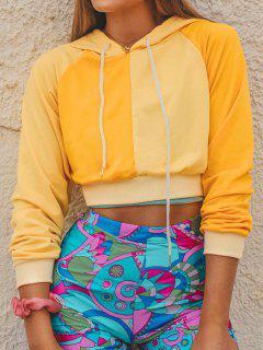 ZAFUL Bicolor Two Tone Crop Hoodie - Yellow S