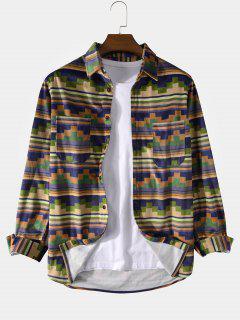 Geometric Stripes Print Double Pockets Shirt - Deep Yellow Xl