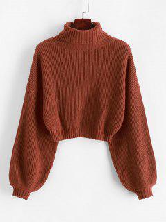 ZAFUL Turtleneck Lantern Sleeve Cropped Sweater - Chestnut Red M