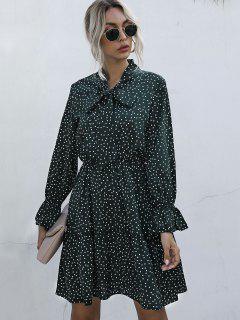 Polka Dot Bow Tie A Line Dress - Deep Green M