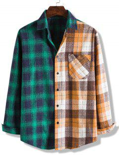 Colorblock Checked Pocket Button Up Shirt - Multi-a Xl
