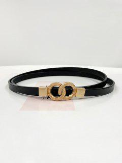 Dual Ring Adjustable Thin Leather Belt - Black