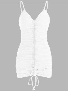 ZAFUL Ribbed Cinched Bodycon Dress - White S