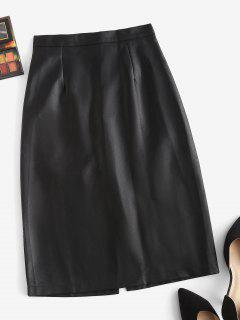 Back Zipper Slit PU Leather Skirt - Black Xl