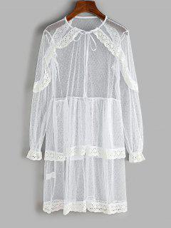 Lace Eyelet Ruffle Layered Beach Dress - White L