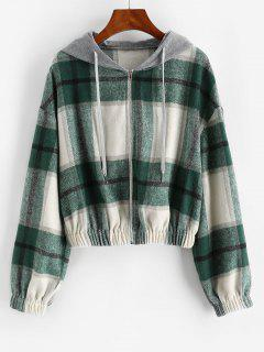 ZAFUL Hooded Plaid Combo Wool Blend Jacket - Sea Turtle Green S