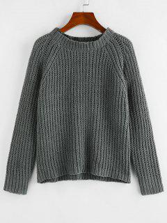 ZAFUL Raglan Sleeve Chenille Chunky Knit Sweater - Gray S
