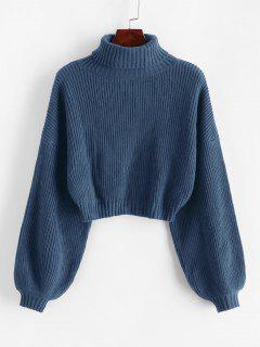 ZAFUL Turtleneck Lantern Sleeve Cropped Sweater - Blue Ivy M