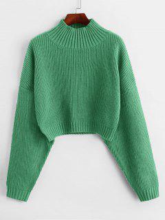 ZAFUL Drop Shoulder Mock Neck Plain Sweater - Cyan Opaque L