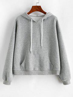 ZAFUL Drawstring Textured Kangaroo Pocket Hoodie - Gray Cloud M