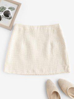 ZAFUL Tweed Mini Bodycon Skirt - Warm White S