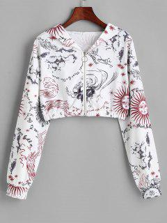 Sun And Wind Print Hooded Zip Crop Jacket - White Xl