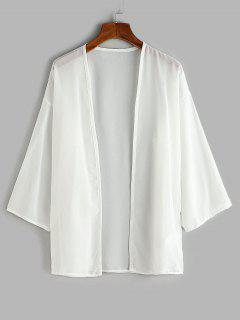 Drop Shoulder Open Front Beach Top - White L