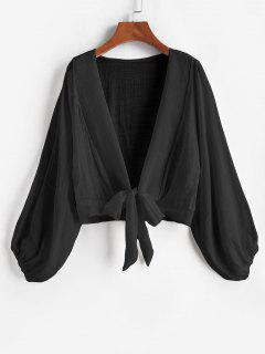 Krawattenknoten Bishop Sleeve Cover-Up Top - Schwarz