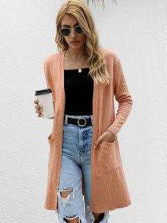 Open Front Dual Pocket Ribbed Cardigan - Coffee