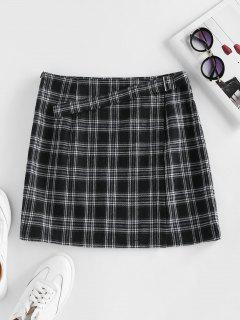 ZAFUL Plaid Buckle Zip Mini Skirt - Black M