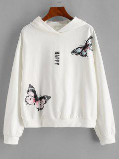 ZAFUL Drop Shoulder Happy Butterfly Hoodie - White Xl