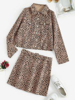 Leopard Button Up Jacket And Mini Skirt Set - Light Pink L