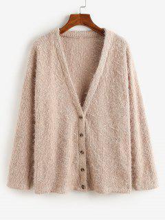 ZAFUL Button Up Fluffy Eyelash Cardigan - Khaki Rose Xl