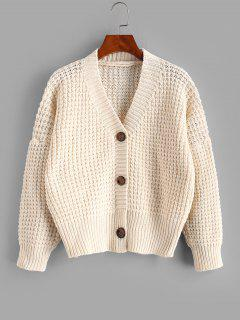 Drop Shoulder V Neck Chunky Cardigan - White
