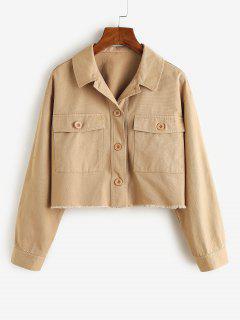 ZAFUL Frayed Front Pockets Cropped Jacket - Khaki M