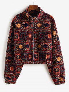 ZAFUL Tribal Print Short Teddy Coat - Firebrick S