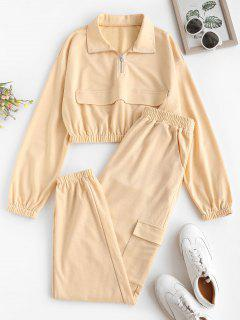 ZAFUL Pocket Half Zip Drop Shoulder Joggers Set - Light Coffee Xl